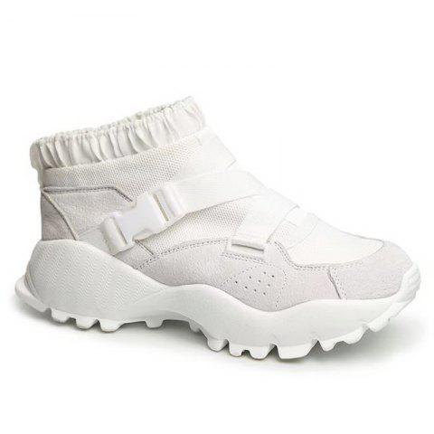 Hot Color Block Buckle Straps Mesh neakers WHITE 39