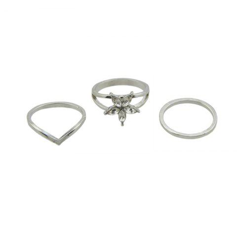 Faux Crystal Circle Flower Ring Set Argent