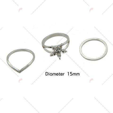 Unique Faux Crystal Circle Flower Ring Set - SILVER  Mobile