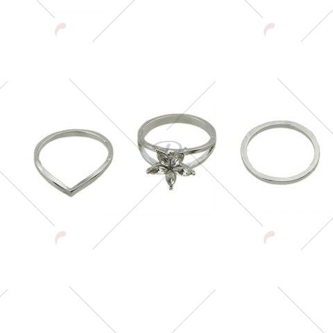 New Faux Crystal Circle Flower Ring Set - SILVER  Mobile