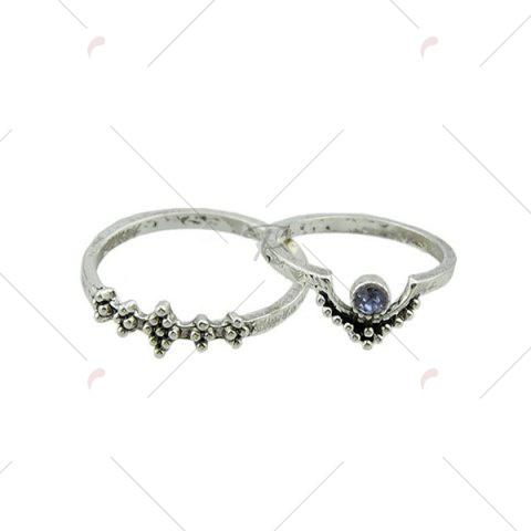 Discount Faux Gem Sparkly Teardrop Ring Set - SILVER  Mobile