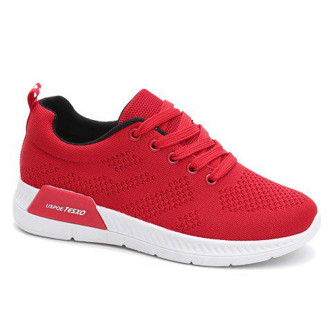 Unique Hollow Out Breathable Mesh Sneakers RED 39