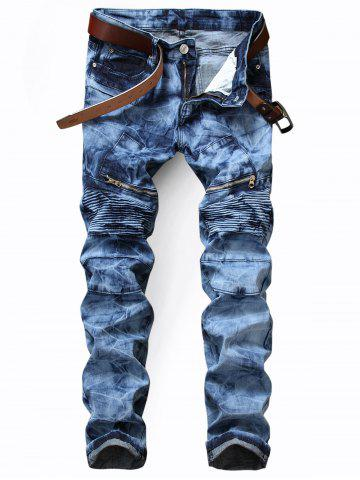 Zip Pocket Tie Dyed Biker Jeans - Blue - 36