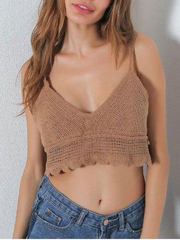 Outfits Hollow Out V Neck Crop Slip Top KHAKI ONE SIZE