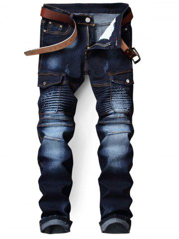 Zip Fly Flap Pocket Biker Jeans Azuré 32