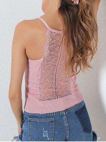 Online Ribbed Lace Insert Hollow Out Cami Top - ONE SIZE PINK Mobile