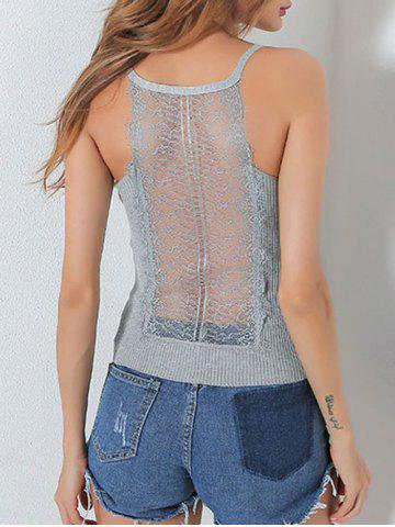 Best Ribbed Lace Insert Hollow Out Cami Top - ONE SIZE GRAY Mobile