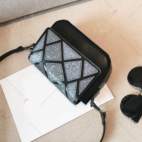 New Faux Leather Geometric Pattern Crossbody Bag - BLACK  Mobile