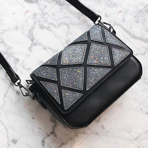 Store Faux Leather Geometric Pattern Crossbody Bag - BLACK  Mobile