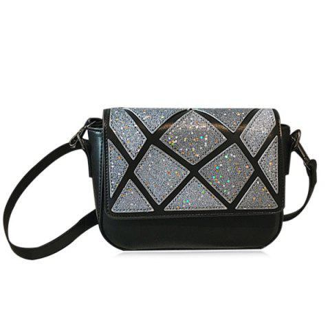 Faux Leather Geometric Pattern Crossbody Bag - Black - 6xl
