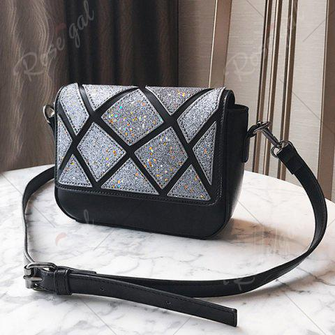 Outfit Faux Leather Geometric Pattern Crossbody Bag - BLACK  Mobile