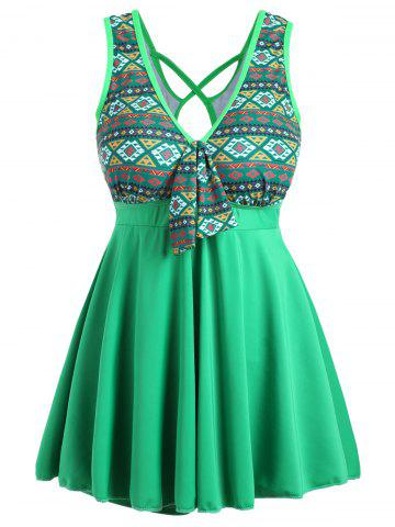 Fashion Plus Size Cross Back Skirted One Piece Swimsuit GREEN 4XL
