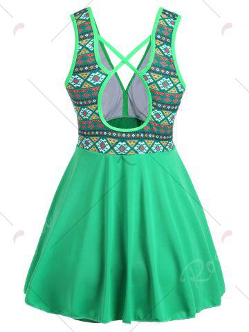 Cheap Plus Size Cross Back Skirted One Piece Swimsuit - 4XL GREEN Mobile