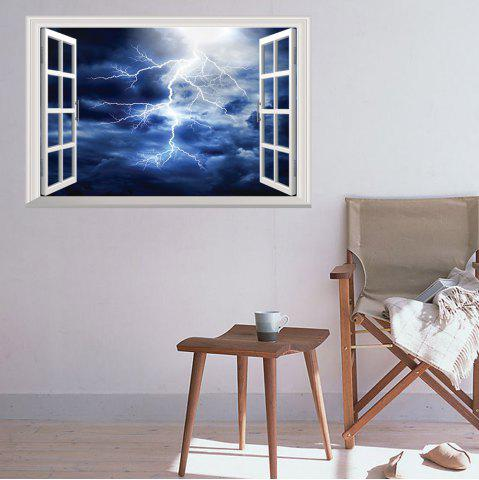 Cheap Window Lightning Removable 3D Wall Art Sticker - 48.5*72CM DEEP BLUE Mobile