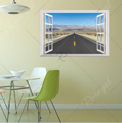 Latest Window Highway Moutains Removable 3D Wall Art Sticker - 48.5*72CM COLORMIX Mobile