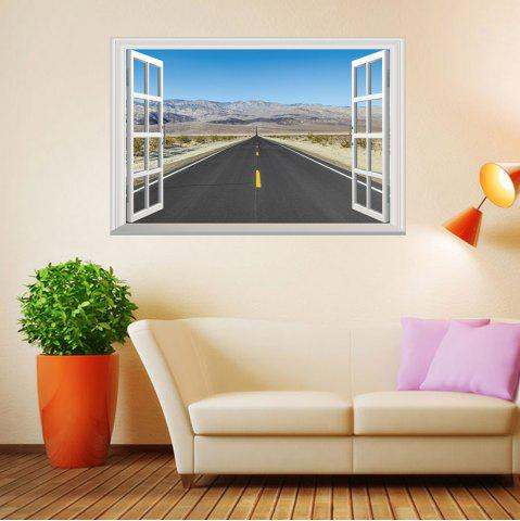 Online Window Highway Moutains Removable 3D Wall Art Sticker COLORMIX 48.5*72CM