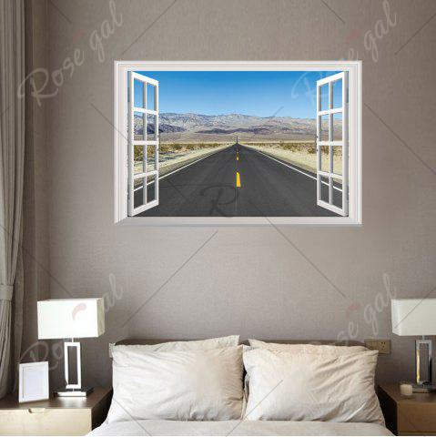 Outfits Window Highway Moutains Removable 3D Wall Art Sticker - 48.5*72CM COLORMIX Mobile