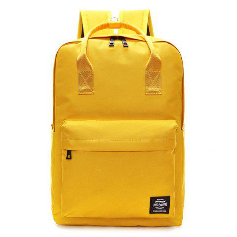 Fashion Double Pocket Top Handle Backpack YELLOW
