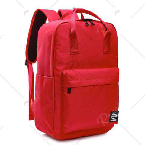 Cheap Double Pocket Top Handle Backpack - RED  Mobile