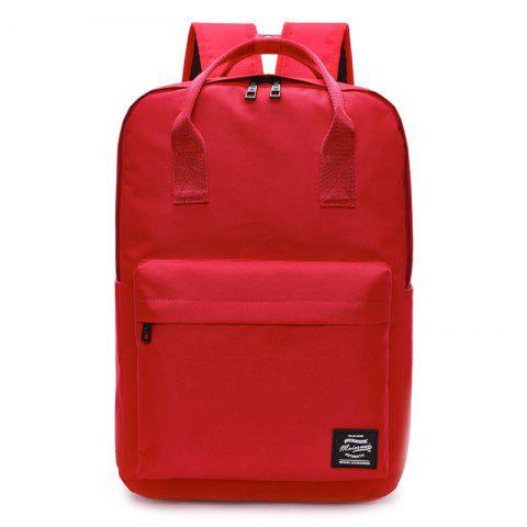 Fashion Double Pocket Top Handle Backpack - RED  Mobile