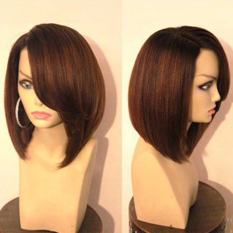 Unique Short Side Part Glossy Straight Bob Synthetic Wig BLACK AND BROWN