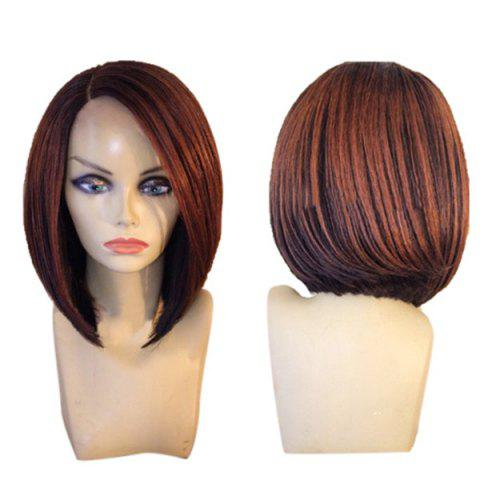 Discount Short Side Parting Colormix Straight Inverted Bob Synthetic Wig - BLACK AND BROWN  Mobile