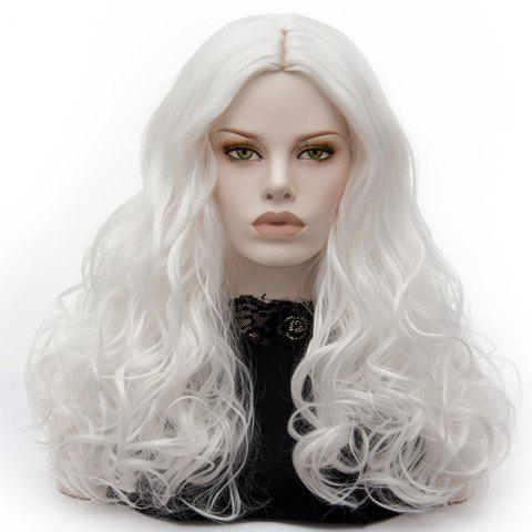 Outfits Long Middle Part Fluffy Layered Wavy Lolita Cosplay Wig - PURE WHITE  Mobile