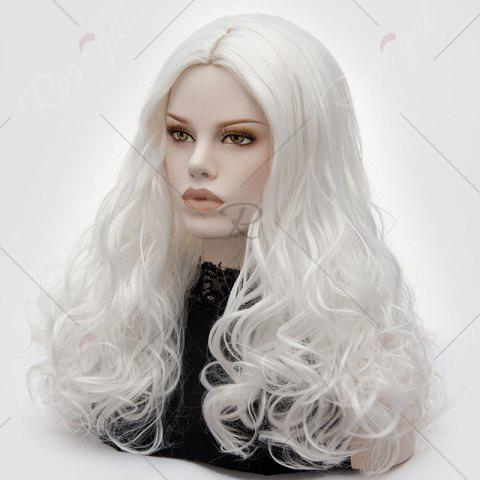 Store Long Middle Part Fluffy Layered Wavy Lolita Cosplay Wig - PURE WHITE  Mobile