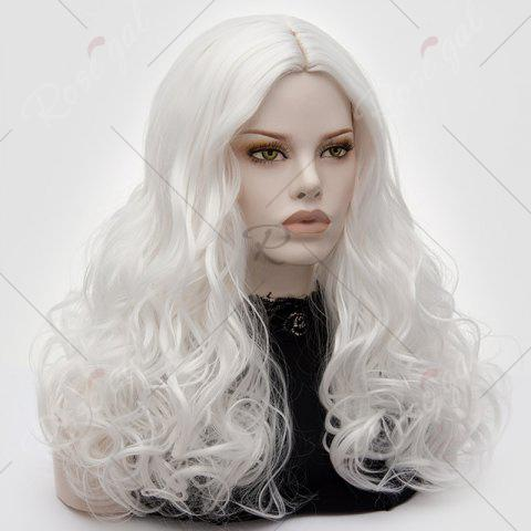 New Long Middle Part Fluffy Layered Wavy Lolita Cosplay Wig - PURE WHITE  Mobile