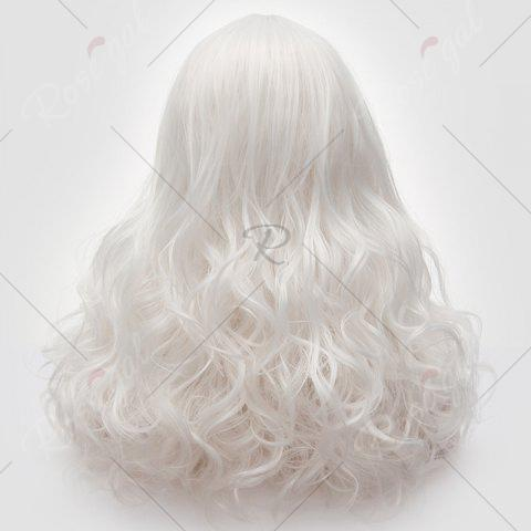 Cheap Long Middle Part Fluffy Layered Wavy Lolita Cosplay Wig - PURE WHITE  Mobile