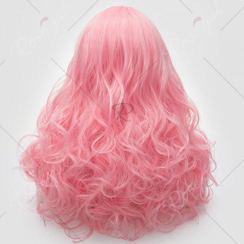 Chic Long Middle Part Fluffy Layered Wavy Lolita Cosplay Wig - PINK  Mobile