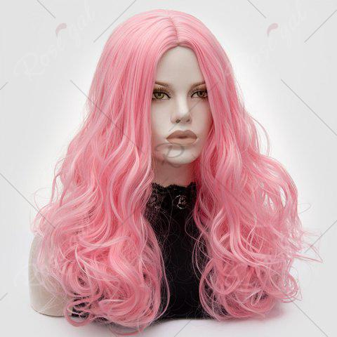 Shops Long Middle Part Fluffy Layered Wavy Lolita Cosplay Wig - PINK  Mobile