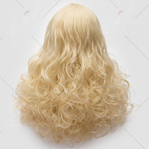 Affordable Long Middle Part Fluffy Layered Wavy Lolita Cosplay Wig - LIGHT GOLD  Mobile