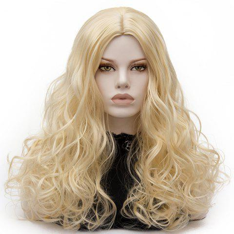 Sale Long Middle Part Fluffy Layered Wavy Lolita Cosplay Wig - LIGHT GOLD  Mobile