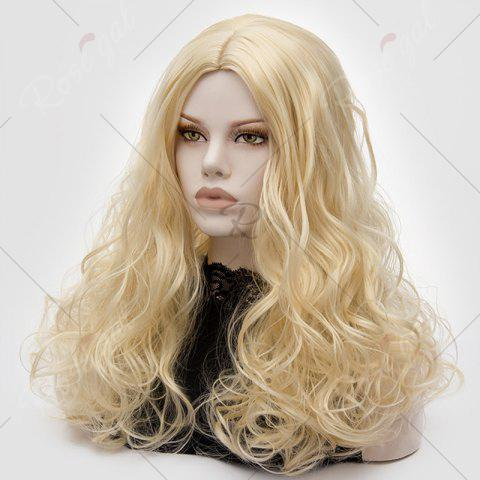 Discount Long Middle Part Fluffy Layered Wavy Lolita Cosplay Wig - LIGHT GOLD  Mobile