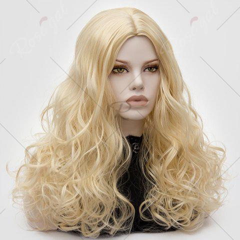 Chic Long Middle Part Fluffy Layered Wavy Lolita Cosplay Wig - LIGHT GOLD  Mobile