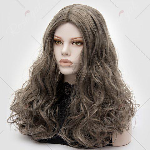 Best Long Middle Part Fluffy Layered Wavy Lolita Cosplay Wig - GRAY  Mobile