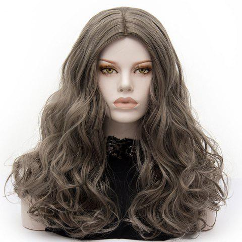 Affordable Long Middle Part Fluffy Layered Wavy Lolita Cosplay Wig - GRAY  Mobile
