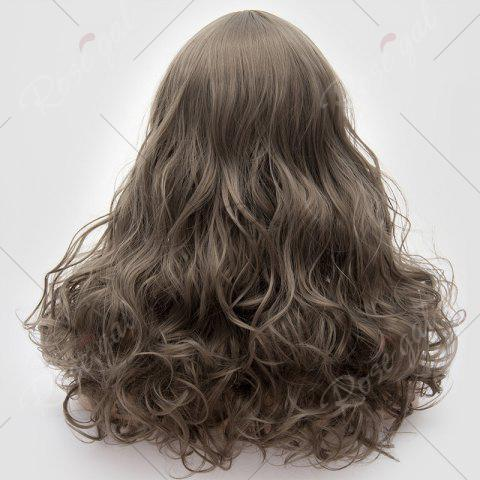 Cheap Long Middle Part Fluffy Layered Wavy Lolita Cosplay Wig - GRAY  Mobile