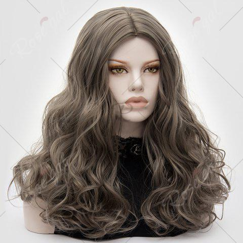 New Long Middle Part Fluffy Layered Wavy Lolita Cosplay Wig - GRAY  Mobile