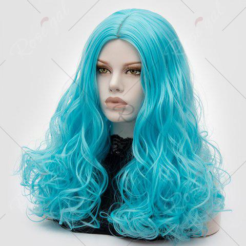 Affordable Long Middle Part Fluffy Layered Wavy Lolita Cosplay Wig - BLUE  Mobile
