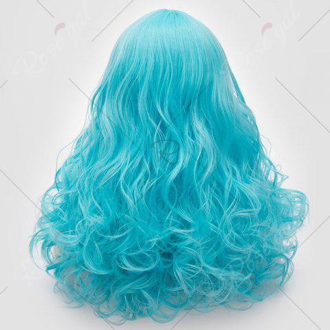Hot Long Middle Part Fluffy Layered Wavy Lolita Cosplay Wig - BLUE  Mobile