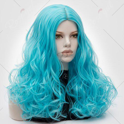 Discount Long Middle Part Fluffy Layered Wavy Lolita Cosplay Wig - BLUE  Mobile