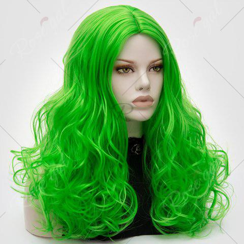 Shops Long Middle Part Fluffy Layered Wavy Lolita Cosplay Wig - BRILLIANT GREEN  Mobile