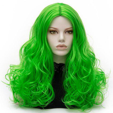 Fashion Long Middle Part Fluffy Layered Wavy Lolita Cosplay Wig - BRILLIANT GREEN  Mobile