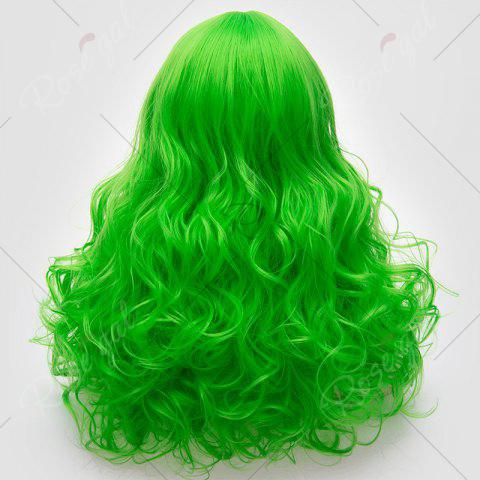 Chic Long Middle Part Fluffy Layered Wavy Lolita Cosplay Wig - BRILLIANT GREEN  Mobile