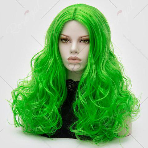 Sale Long Middle Part Fluffy Layered Wavy Lolita Cosplay Wig - BRILLIANT GREEN  Mobile