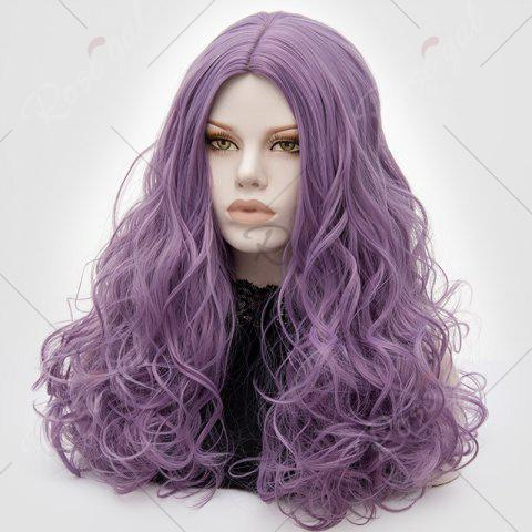 Sale Long Middle Part Fluffy Layered Wavy Lolita Cosplay Wig - PINKISH PURPLE  Mobile