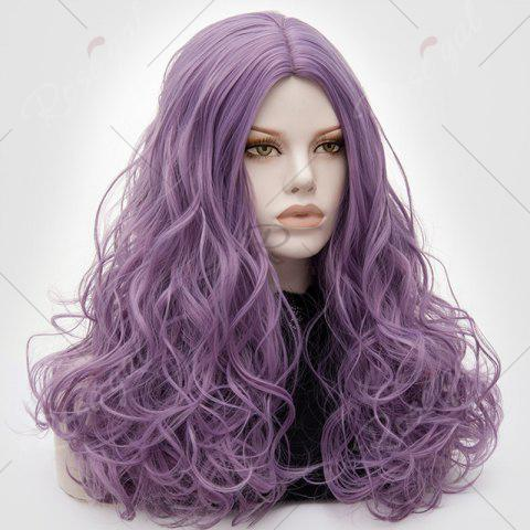 Shops Long Middle Part Fluffy Layered Wavy Lolita Cosplay Wig - PINKISH PURPLE  Mobile