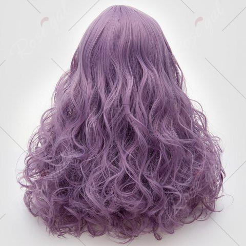 Chic Long Middle Part Fluffy Layered Wavy Lolita Cosplay Wig - PINKISH PURPLE  Mobile